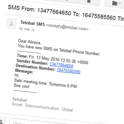 screen of sms in email